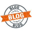blog round grunge ribbon stamp vector image vector image