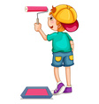 Boy painting the wall pink vector image vector image