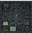 Business Hand Sketched Icons on Chalkboard vector image