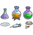 cartoon laboratory flask pills and syringe vector image vector image