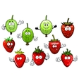 Cartoon strawberry and gooseberry fruits vector image