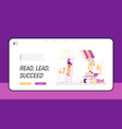 characters reading in library stand on huge vector image vector image