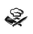 chef hat with kitchen knife vector image vector image