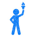 child with freedom torch grunge icon vector image vector image