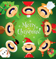 christmas card with cute cartoon children in color vector image