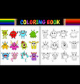 coloring book with monsters cartoon collection vector image vector image