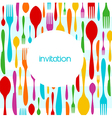Cutlery colorful pattern invitation vector image vector image