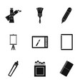 designer equipment icons set simple style vector image vector image
