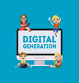 digital generation banner kids playing games vector image vector image