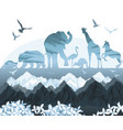 double exposure beautiful wild nature vector image vector image