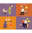 Family with children concept flat icons set vector image vector image