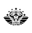 fitness club or gym logo with strong athletic man vector image