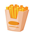 french fries in paper box fast food meal vector image