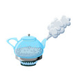 glass kettle with boiling water and steam vector image vector image