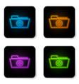 glowing neon medical health record folder vector image vector image