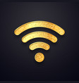 golden wifi sign gold wi fi wireless vector image vector image