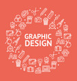 graphic design signs round design template line vector image vector image