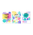 happy birthday party card templates set children vector image