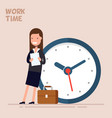 happy businesswoman or manager is standing near a vector image