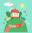 home is where your heart is card with cute house vector image