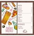 italian cafe restaurant menu vector image vector image