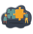 mini people with big puzzles vector image vector image