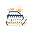 passenger ship - modern single line icon vector image vector image