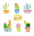 pastel watercolor cactus set vector image vector image