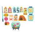 pet shop set with toys bowls kennel and feed vector image