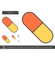 Pill line icon vector image vector image