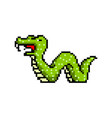 pixel snake art 8 bit objects retro game assets vector image