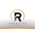 r letter logo design with black orange color cool vector image