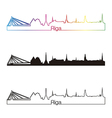 Riga skyline linear style with rainbow vector image