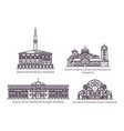set isolated macedonia buildings in thin line vector image