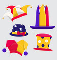 set of fanny jester hats vector image vector image