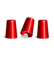 shell game three thimbles and ball vector image vector image