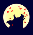 silhouette of pig howling at the full moon vector image vector image