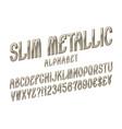slim metallic alphabet witn numbers dollar and vector image vector image
