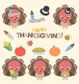 thanksgiving turkey set vector image vector image