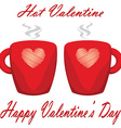 valentine day couple cups white background hot vector image