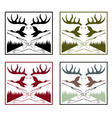 vintage labels set with hunting theme vector image vector image