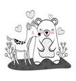 wild bear and deer cartoons vector image vector image