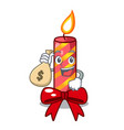 with money bag character christmas decoration with vector image vector image