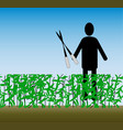 work in the garden cutting bushes simple clipart vector image vector image