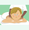 young cute woman getting back massage in spa vector image