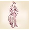 knight vintage hand drawn llustration vector image