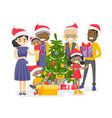 big biracial family decorating the christmas tree vector image