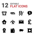 12 currency icons vector image vector image