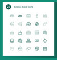 25 cake icons vector image vector image