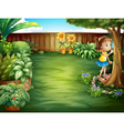 A little girl studying the plants in the garden vector image vector image